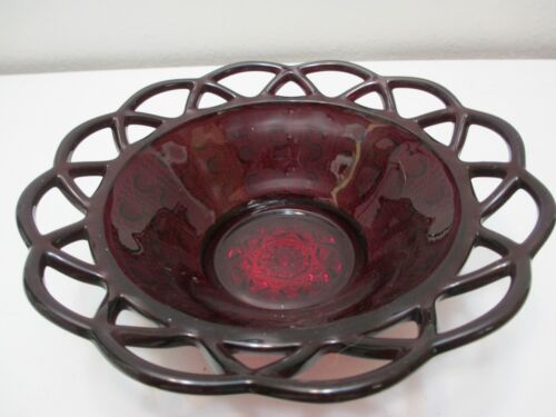 """Vintage Imperial Glass Bowl Candy Dish Laced Edge Button Cane Ruby Red 6 5/8"""" D"""