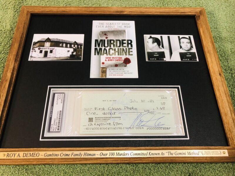 "ROY DEMEO Signed (PSA) Autograph ""MAFIA MOB GAMBINO HITMAN"" Framed no jsa bas"