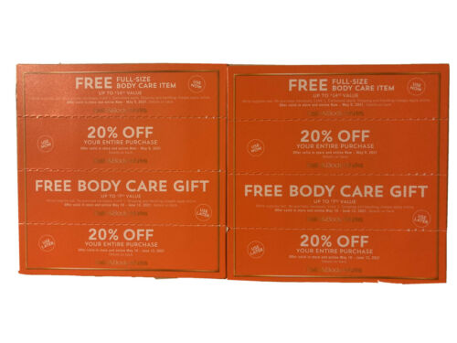 8 Bath And Body Works Coupon 4 X 20 Off Entire 4 X Gift Expires 5/9 6/13/21 - $15.00