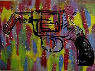 Second admendment Gun Original Abstract pop Painting Warhol Banksy alec