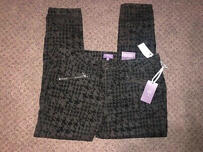 NWT Not Your Daughters Jeans NYDJ Super Skinny Black Velvet Houndstooth Pants16P