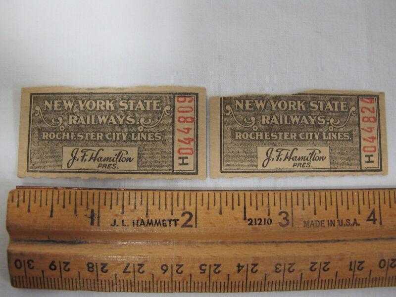 New York State Railways Rochester City Lines Ticket Stub NY Streetcar Trolley