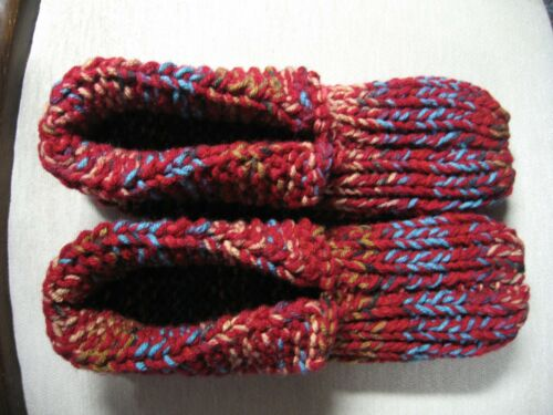 """Unisex Knit Hs Slippers w/Cuffs Burgundy Mix Womans X Large Mans Med/Large 10"""""""