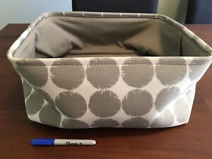 Grey and white polka dot basket