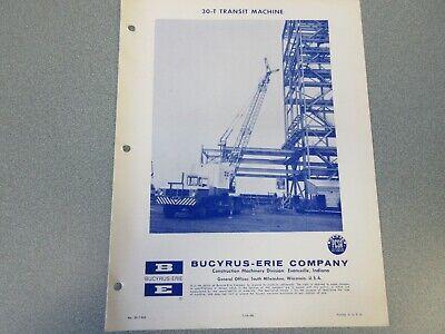 Rare Bucyrus-erie 30-t Crane Excavator Spec Information 1966