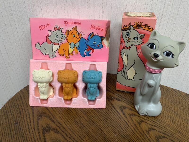 Vintage New Avon Disney Aristocat Non-tear Shampoo Figural Kitten Soap Set