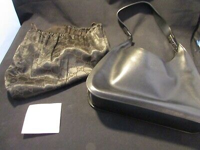 Gucci Vintage Black Leather Hand Bag With Tag And Storage Bag # 001.3767 002038