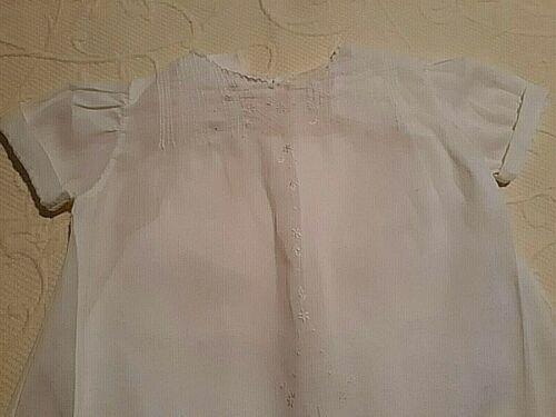 Vintage White Baby Dress & Slip, Sloped Hemline, Sleeves & Front Design #1