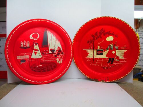 Vintage Marceline Stoyke Barbeque Chef Pattern Red Metal Trays 1950