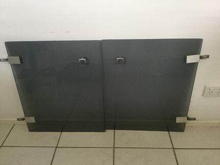 Smokey glass cabinet doors