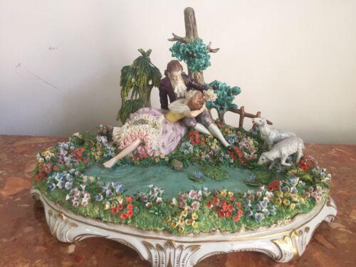 Large Sitzendorf Dresden WillKommene Rast figurine Lovers  by Pond 19 Century