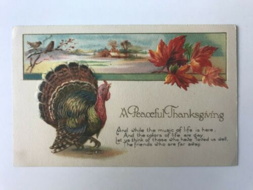 Postcard Embossed A Peaceful Thanksgiving Poem Winsch Think Of Friends Far Away