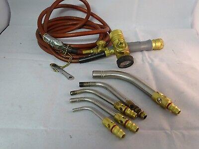 Victor Turbo Torch Handle Acetylene Regulator Ar-b Hose 5 Tips Welding Tool