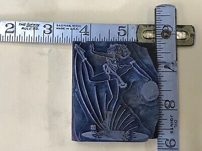 Sexy Woman Ice Skating Letterpress Cut Ornament Block - 2-14 X 2-38