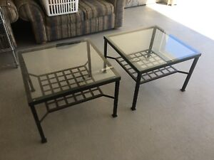 2 Glass and Charcaol Grey Metal Side Tables