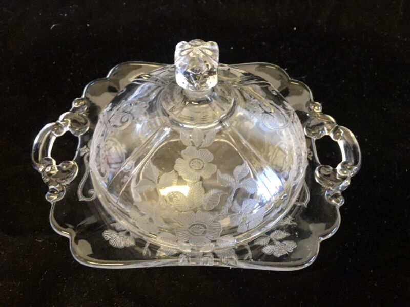 Cambridge Glass Company Apple Blossom 2 hdld covered butter dish