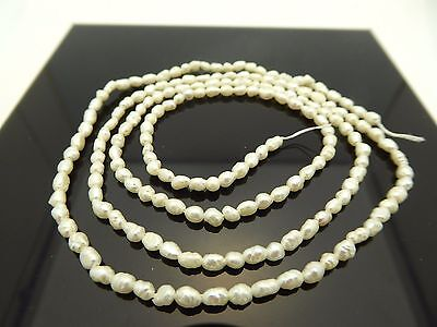 "Natural White Rice Freshwater Pearl Size 4.5mm Extra Long 24"" Strands Bargain"