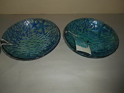 5pc Aqua Coral Blue Starfish Blue Glass Dinner Bowls Coastal Fish Turkey