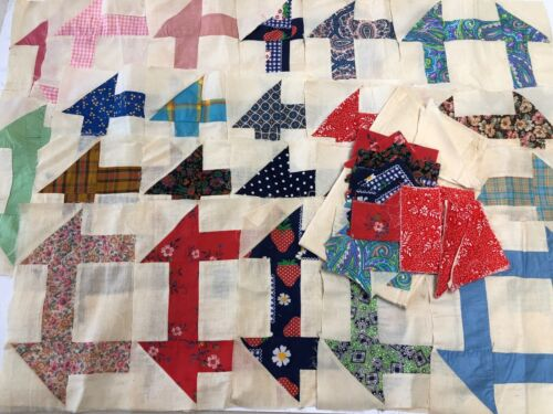 22 Vintage Hand-stitched Quilt Blocks Extra Muslin & Cut Pieces + Pattern Pieces