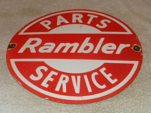 """VINTAGE """"RAMBLER PARTS AND SERVICE"""" 12"""" PORCELAIN METAL CAR, GASOLINE & OIL SIGN"""