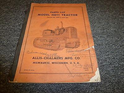 Allis Chalmers Hd11 Crawler Tractor Parts Catalog Manual Book Sn 6473 Up