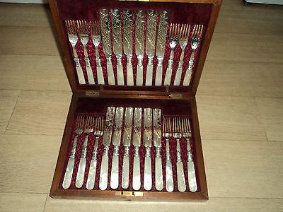 Antique Dessert set  24 Mother of Pearl fruit knives and forks - original box