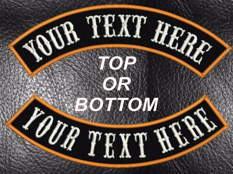 """CUSTOM EMBROIDERED ROCKER PATCHES 13"""" MC TOP OR BOTTOM MOTORCYCLE CUT BIKER USA"""