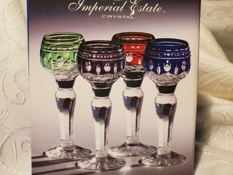 NEW Set 4 CORDIAL WINE GLASSES IMPERIAL ESTATE Crystal Cut Clear GREAT GIFT BAR