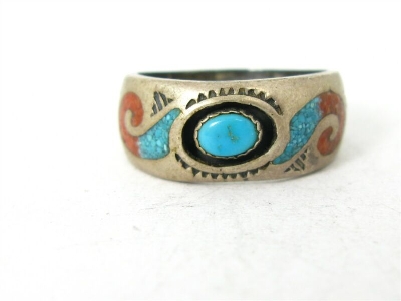 Vintage Sterling Silver Jack Whittaker Navajo Turquoise & Coral Band Ring 6g B30