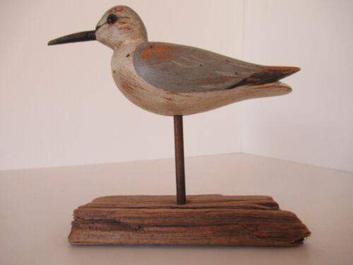 Handcarved shorebird on stand signed Guge, 1983