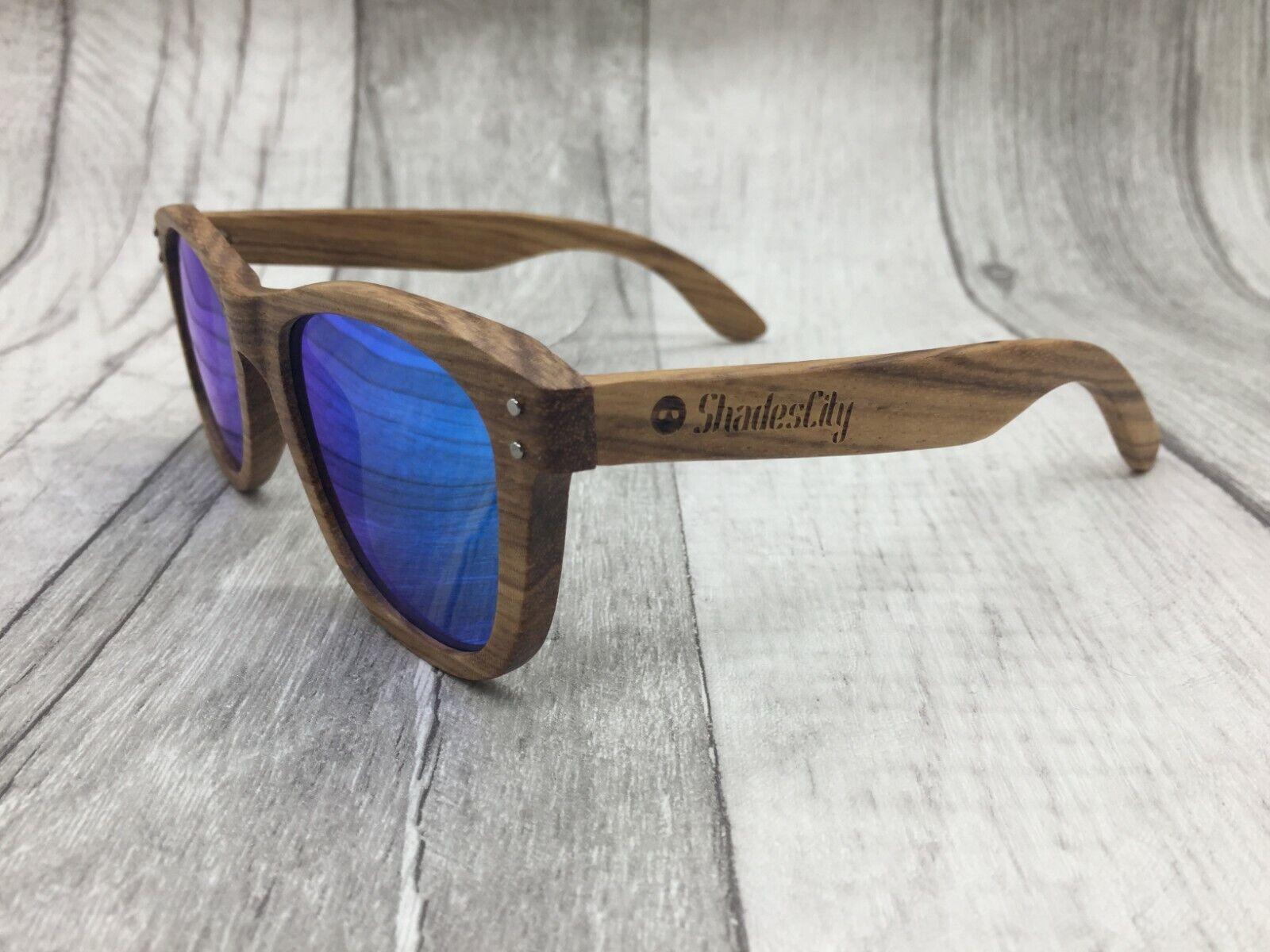 Men/'s 2019 Walnut Wood Frame Blue Mirror One Piece Sunglasses 100/% UV 400