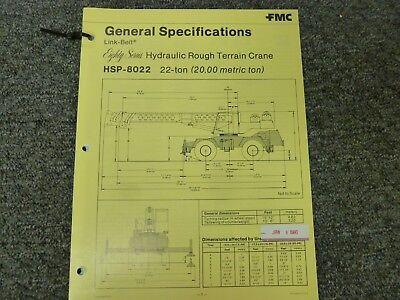 Link-belt Hsp-8022 Rough Terrain Crane Specifications Lifting Capacities Manual