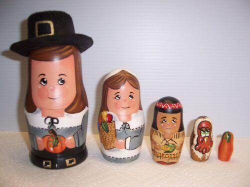Pilgrims Hand Painted stacking nesting doll set