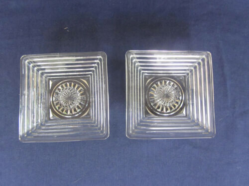2 Clear Depression Glass Anchor Hocking Manhattan Art Deco square candleholders
