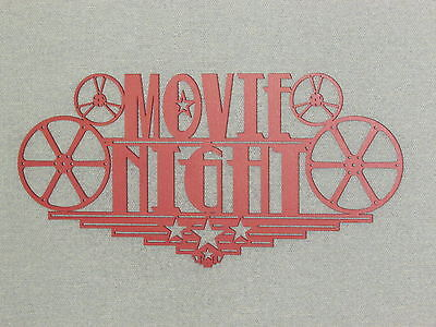 Large Red Wood Movie Night Home Theater Wall Decor Sign Reels Theater - Movie Theater Wall Decor