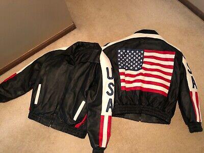 USA Flag leather motorcycle jacket in XL Flag Motorcycle Jacket