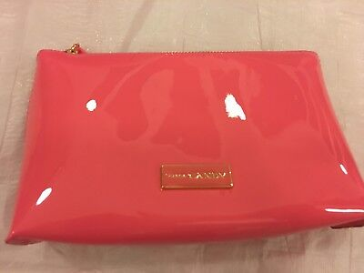 PRADA CANDY GLOSS Pouch Cosmetic Bag Pink patent faux leather wet look NEW boxed