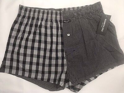 Kenneth Cole Mens Underwear Small Boxer Black Gray Plaid Cotton Polyester NEW