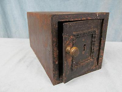 Antique Cast Iron Metal Lock Box Wall Safe  Wood Lining No Lock No Key
