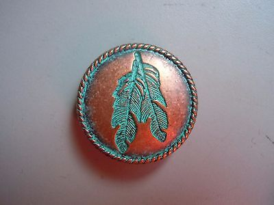 Conchos Feather Copper and Teal Patina