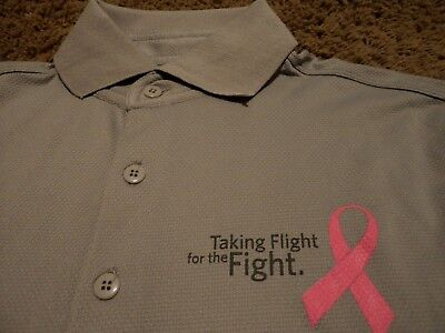 Men's Delta Airlines Breast Cancer Awareness Taking Flight For Fight Polo Shirt