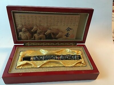 Jinhao Twin Dragons Playing Red Jewel  Ballpoint Pen Red Jewelry Wooden Box