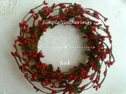 """RED 4"""" Diameter Pip Berry Candle Ring Crafts Farmhouse Americana"""