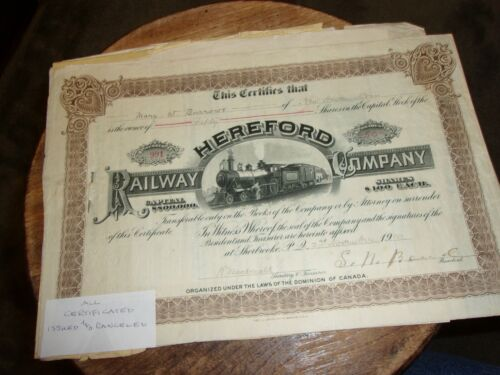 HEREFORD RAILWAY COMPANY ISSUED STOCK CERT. 1910