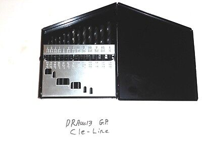 Drx13 New Cle-line 13pc. Hss J.l. Drill Set In Huot Index 118d. 116-14