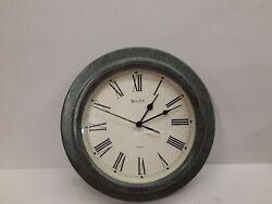 Bulova Wall Clock with Metal Frame, 10 Diameter, Working, C4152