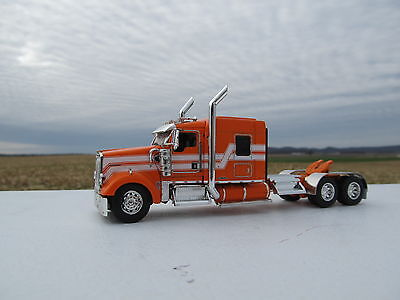 Dcp 1 64 Scale W 900 Kenworth Mid Roof Orange White Stripes  Tractor Only
