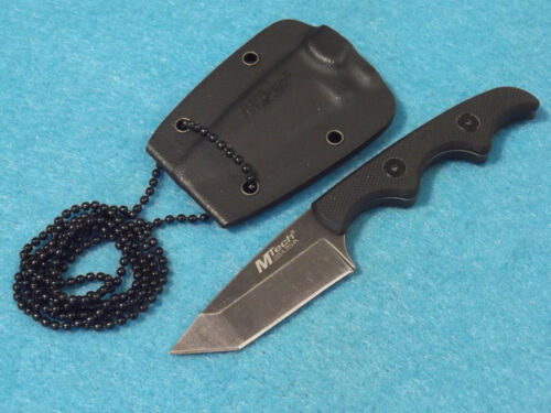 "MTech MT673 Tanto Neck Knife Black G-10 handle Stonewash blade 4 7/8"" overall"