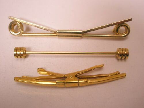 -3 lot Gold Tone Vintage Collar Bars 1 Hickok, 2 unbranded L11
