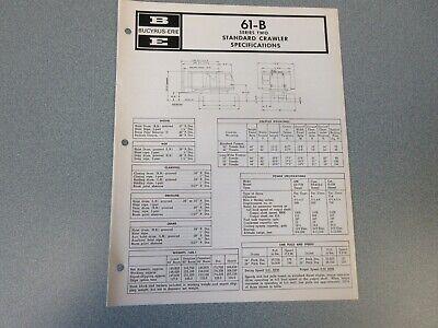 Rare Bucyrus-erie 61-b Crane Excavator Spec Information 1970